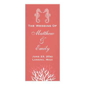 Programa anaranjado rosado del boda del Seahorse