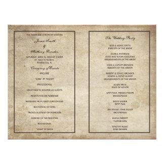 Programa apenado elegancia del boda de papel del folleto 21,6 x 28 cm