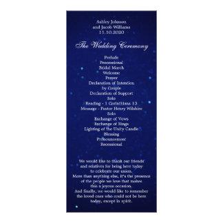 Programa azul del boda. Ceremonia del invierno de