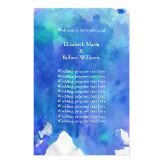 Programa azul del boda de la acuarela folleto 14 x 21,6 cm