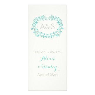 Programa azul del boda del marco del follaje de la