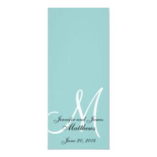 Programa blanco azul de la iglesia del boda del invitacion personalizada