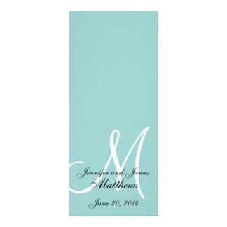 Programa blanco azul de la iglesia del boda del invitación 10,1 x 23,5 cm