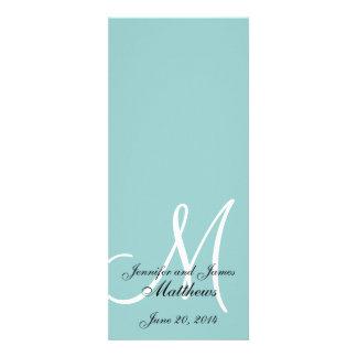Programa blanco azul de la iglesia del boda del mo invitacion personalizada