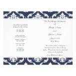 Programa blanco del boda del damasco del vintage d tarjeta publicitaria