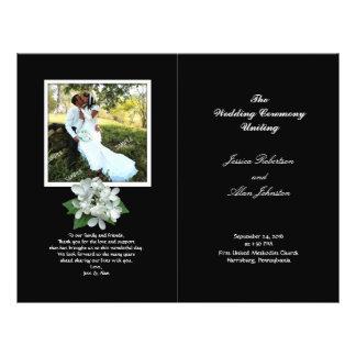 Programa blanco y negro del boda de la foto folleto 21,6 x 28 cm