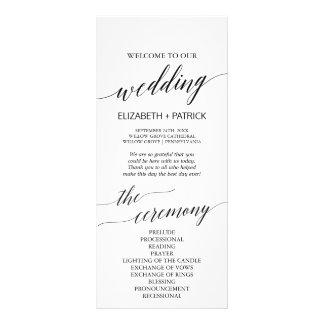 Programa blanco y negro elegante del boda de la