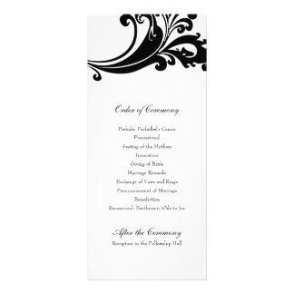 Programa blanco y negro llamativo del boda tarjetas publicitarias