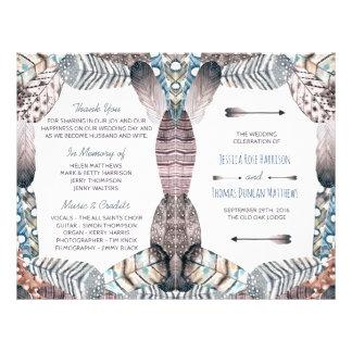 Programa bohemio del boda de las plumas tribales folleto 21,6 x 28 cm