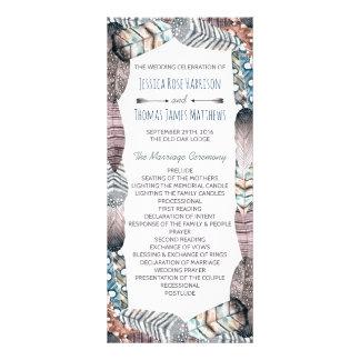 Programa bohemio del boda de las plumas tribales lonas
