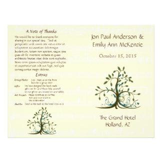 Programa caprichoso musical del boda del árbol folleto 21,6 x 28 cm