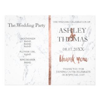 Programa color de rosa de encargo del boda del folleto 21,6 x 28 cm