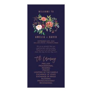 Programa color de rosa floral del boda del oro del