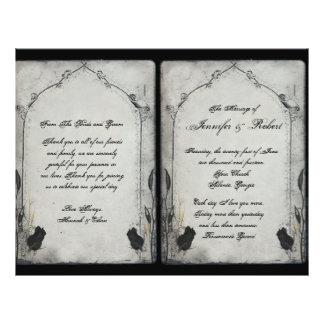 Programa color de rosa negro gótico del boda del