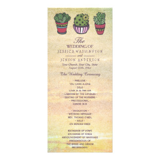 Programa colorido del boda del cactus