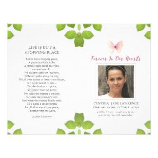 Programa conmemorativo fúnebre de la foto rosada