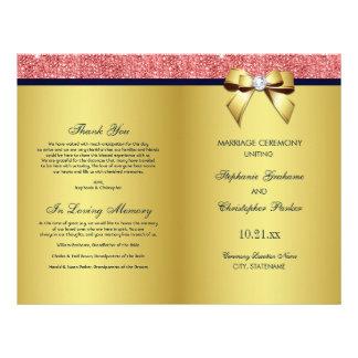 Programa coralino del boda del arco de las folleto 21,6 x 28 cm