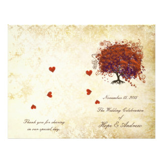 Programa coralino del boda del oro del árbol de la folleto 21,6 x 28 cm