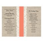 Programa coralino rústico del boda de la cinta del tarjeton