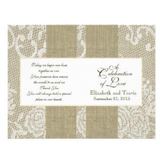 Programa de la arpillera y del boda del cordón folleto 21,6 x 28 cm