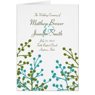 Programa de la ceremonia de boda y orden de la tarjeta de felicitación
