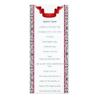 Programa de la recepción nupcial del damasco invitación 10,1 x 23,5 cm