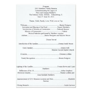Programa de la reunión de familia invitación 12,7 x 17,8 cm