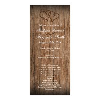Programa de madera del boda del país de los tarjetas publicitarias a todo color