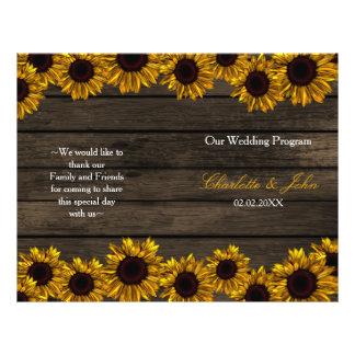 Programa de madera del boda del país del granero folleto 21,6 x 28 cm