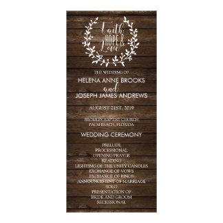 Programa de madera rústico del boda tarjeta publicitaria