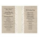 Programa de marfil rústico del boda de la cinta de flyer personalizado