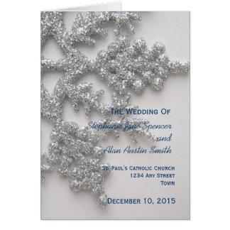 Programa de plata del boda del copo de nieve tarjeta de felicitación