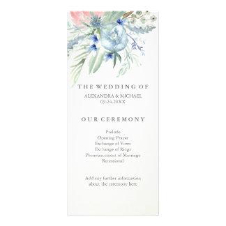 Programa del boda con los Peonies azules y rosados Diseño De Tarjeta Publicitaria