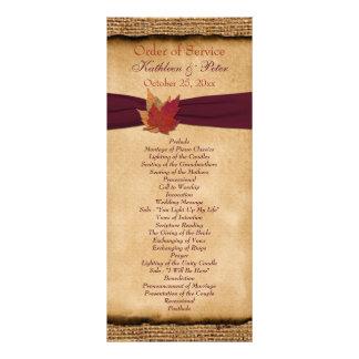 Programa del boda de la arpillera de las hojas de