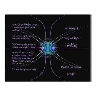 Programa del boda de la estrella del fractal tarjetas informativas