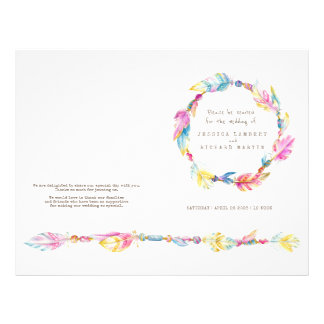 Programa del boda de la guirnalda de la pluma del