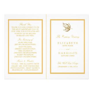 Programa del boda de la mariposa del brillo del folleto 21,6 x 28 cm