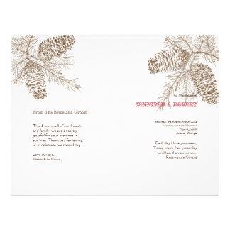 Programa del boda de la naturaleza del cono del folleto 21,6 x 28 cm