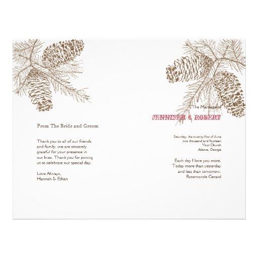 Programa del boda de la naturaleza del cono del pi tarjetones