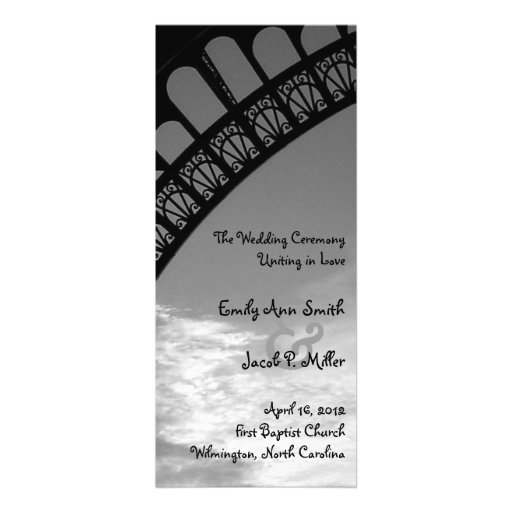 Programa del boda de la torre Eiffel Anuncios Personalizados
