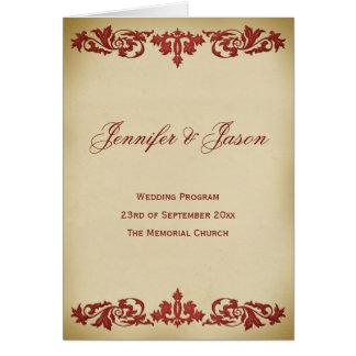 Programa del boda de la voluta de la hoja del