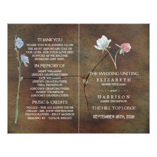 Programa del boda de madera de roble del folleto 21,6 x 28 cm