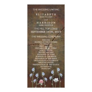 Programa del boda de madera de roble del tarjeta publicitaria a todo color