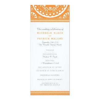 Programa del boda de Papel Picado - naranja Invitación 10,1 X 23,5 Cm