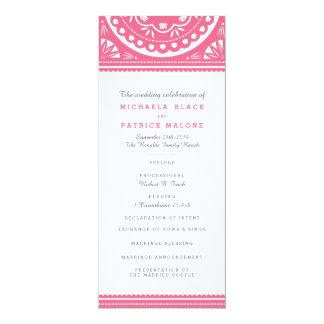 Programa del boda de Papel Picado - rosa Invitación 10,1 X 23,5 Cm