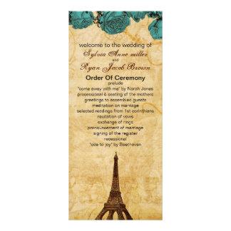 programa del boda de París de la torre Eiffel del