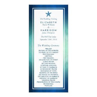 Programa del boda de playa de las estrellas de mar lona publicitaria