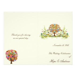 Programa del boda del árbol de la flor