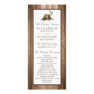 Programa del boda del árbol y de madera del lonas personalizadas