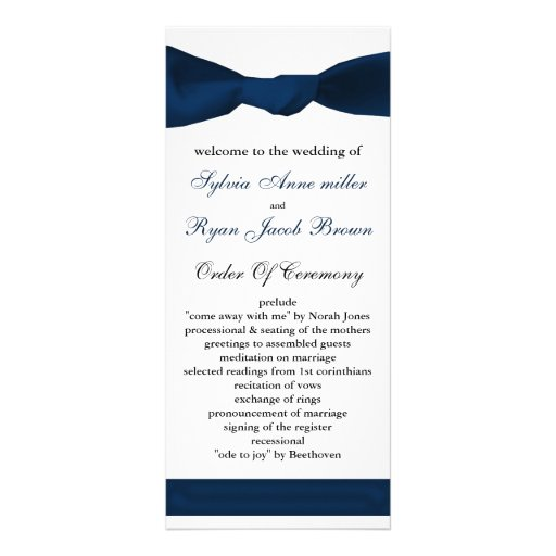 programa del boda del arco de los azules marinos lona